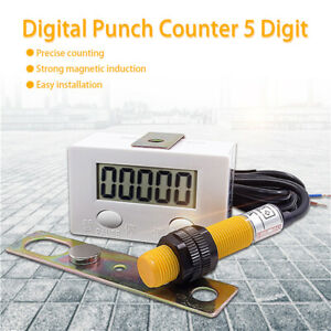 5 digit Digital Lcd Electronic Punch Counter With Switch Reset pause Button New