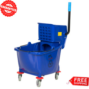 Commercial Janitor Mop Bucket 36 Qt And Wringer Combo Professional Cleaner Blue