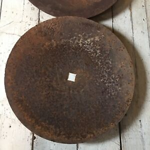 Vintage Plow Disc Blades Set Of 4 Old Farm Equipment Steampunk Parts 16 1 2 Inch