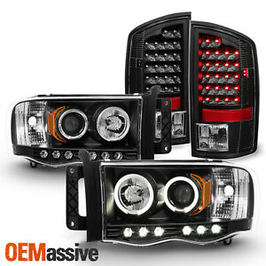 Fits 03 05 Dodge Ram Dual Halo Projector Led Headlights Tail Lamps Led Combo