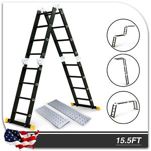 15 5ft Extension Multi Purpose Step Scaffold Ladder Folding Aluminum 2 Platforms