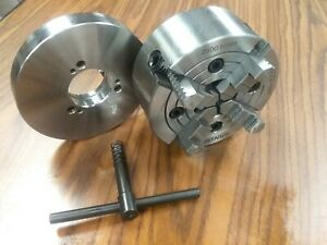 6 4 jaw Lathe Chuck W Independent Jaws W D1 3 Adapter Semi finished 0604f0