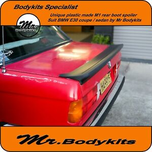 Plastic Made M Tech 1 M1 Style Rear Boot Spoiler For Bmw E30 Series Coupe 4 Door