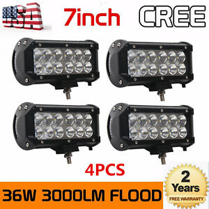 4x 7inch 36w Led Work Light Bar Flood Beam Driving Offroad Lamp 4wd Atv Cars Suv