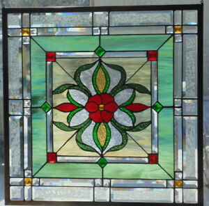 Stained Glass Window Hanging 25 1 2 X 25 1 2 Brass Frame Edging