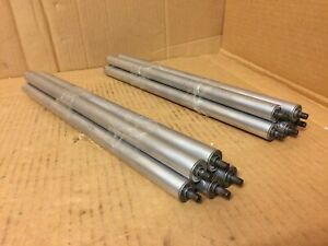 Lot Of 10 Aluminum 13 3 4 X 3 4 Gravity Conveyor Rollers Spring Type