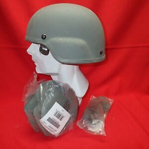ACH MICH Helmet MSA size LARGE PADS Chinstrap Gray  L #  33 GRAY