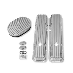 For Small Block Chevy Finned Short Valve Covers W 12 Finned Air Cleaner sbc