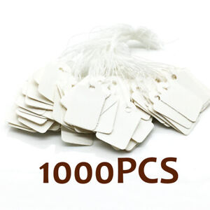 White Blank Writable Price Tags Message Cards W String Clothing Tags X1000