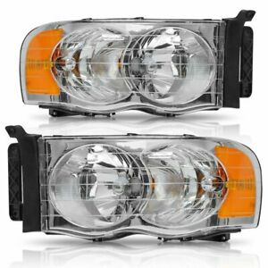 For 2002 2005 Dodge Ram 1500 2500 3500 Clear Lens Headlights Lamps Pair Amber