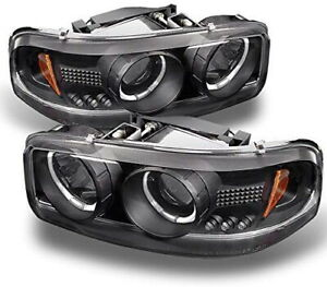 New Led Projector Headlight Pair For 1999 2006 Gmc Sierra 1500 2500hd 3500