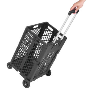 55 Lbs Large Capacity Utility Cart Hand Crate Folding Mesh Rolling With 4 Wheels