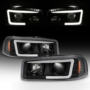 New Black Led Projector Headlight Pair For 1999 2006 Gmc Sierra 1500 2500hd 3500