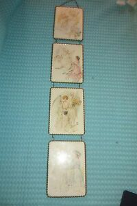 Vtg 4 Chain Linked Wall Picture Frames Brass Metal Victorian Settings