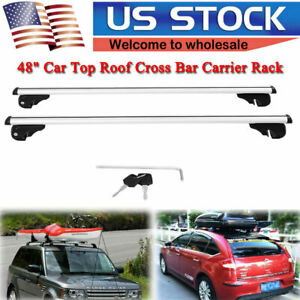 Universal 48 Car Top Roof Cross Bar Lockable Rail Luggage Carrier Cargo Rack Us