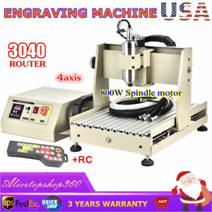 800w 4 Axis Cnc 3040 Router Engraver Wood Engraving Drilling Milling Machine rc