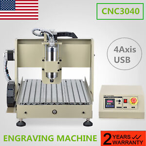 Usb 4 Axis 3040 Cnc Router Engraver Wood Engraving Cutting Mill Carving Machine