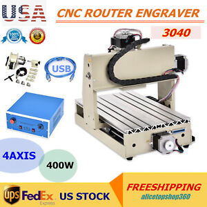Usb 400w 4 Axis Router Engraver Pcb Wood Engraving Milling Machine 3d Cutter Usa