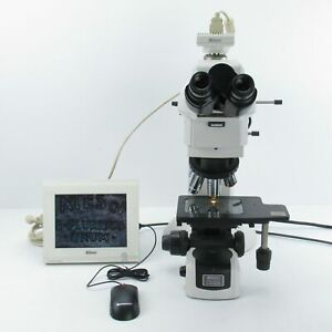 Nikon Eclipse Lv150 Bf df Trinocular Microscope With Ds Camera Objective Set