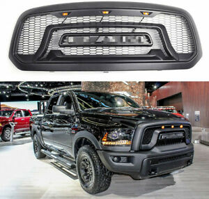 Grill For 2013 2018 Dodge Ram 1500 Rebel Style Front Grille With 3 Led Lights