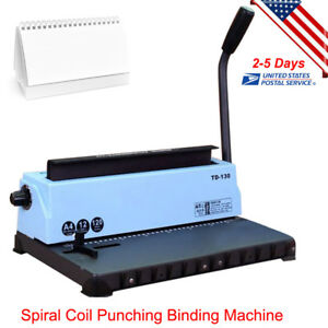 All Steel Metal Spiral Coil 34holes Manual Punching Binding Machine us Fast Ship