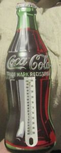 Reproduction 1998 Coca Cola Thermometer Metal Bottle Shaped Sign 16 1/2
