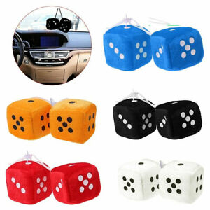 2pcs Fuzzy Dice Dots Rear View Mirror Hanger Decoration Car Styling Ornament Mx