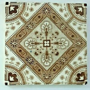 Antique English Tile Brown White Floral Abstract Decoration 1887