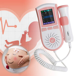 Lcd Pocket Fetal Doppler 3mhz Probe Baby Heart Monitor batteries 4functions A
