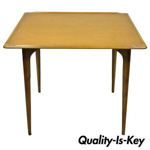 Mid Century Danish Modern Square Small Walnut Sculpted Edge Game Dining Table