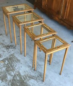 Vintage Nesting Side Tables Floral Hand Painted Tops