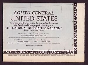 1940s Original Vintage Wall Map South Central United States Of America