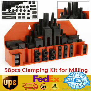 58x M12 Clamping Kit 14mm Nuts T slots Step Block For Metal Milling Machine Tool