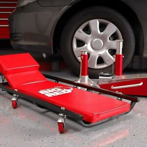 Car Shop Creeper Garage Mechanic Rolling Cart 40 Red 6 Wheels Casters Headrest