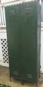 Vintage Gym Locker Closet Metal Double Door Primitive Paint 78 Tall X 30 W