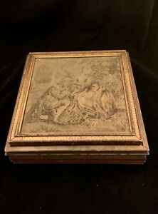 Antq Victorian Wood Trinket Jewelry Box Tapestry Top Hinged Lid Mirrored Inside