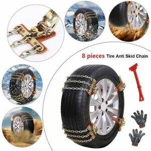 8pcs Wheel Tire Snow Anti Skid Chains For Car Truck Suv Emergency Universal