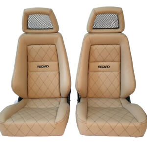 2 Jdm Recaro Lx Tan Leather Reclinable Net Headrest Racing Seats Car 200 Off