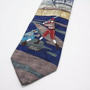 Coca Cola Old Time Baseball themed Silk Neck Tie -  Made in USA