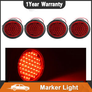 4x 4 Red Marker Light Truck Flush Mount Tail Stop Turn Lamps 40 Led Waterproof
