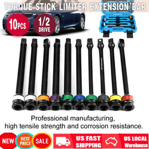 10pcs 1 2 drive Color coded Torque Stick Limiter Extension Bar Set Professional