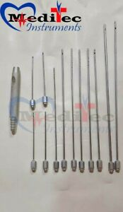 Liposuction Cannula 12pcs Set German Stainless Steel Reusable Grade A