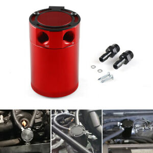 Universal Compact Baffled 2 port Aluminum Oil Catch Reservoir Can Tank Red