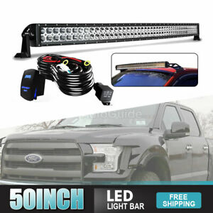 50inch Roof Led Light Bar 288w Combo Spot Flood Fog Fit Pickup Jeep Suv C1h