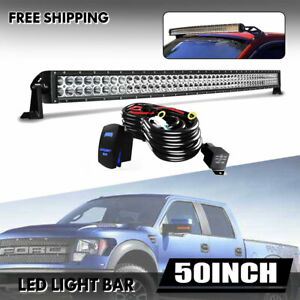 50inch Roof Led Light Bar 288w Combo Spot Flood Fog For Pickup Jeep Suv C1h