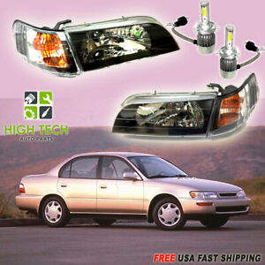 For Toyota Corolla 93 97 Jdm Front Pair Headlights Focos Black Free Led Bulb H4