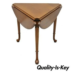 Vintage Statton Trutype Cherry Wood Drop Leaf Queen Anne Triangle Side Table