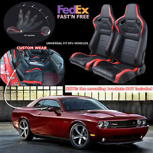 New Universal Red 2pcs Pvc Racing Seats Pair Faux Leather Reclinable Bucket Seat