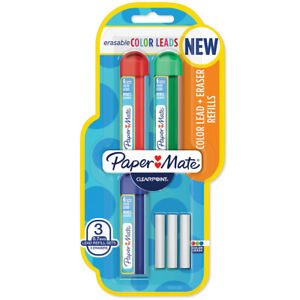 Pack 3 Paper Mate Clearpoint Erasable Mechanical Pencil Refill colors Red Gre