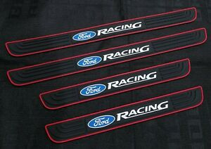 4pcs Ford Racing Black Rubber Car Door Scuff Sill Cover Panel Step Protector
